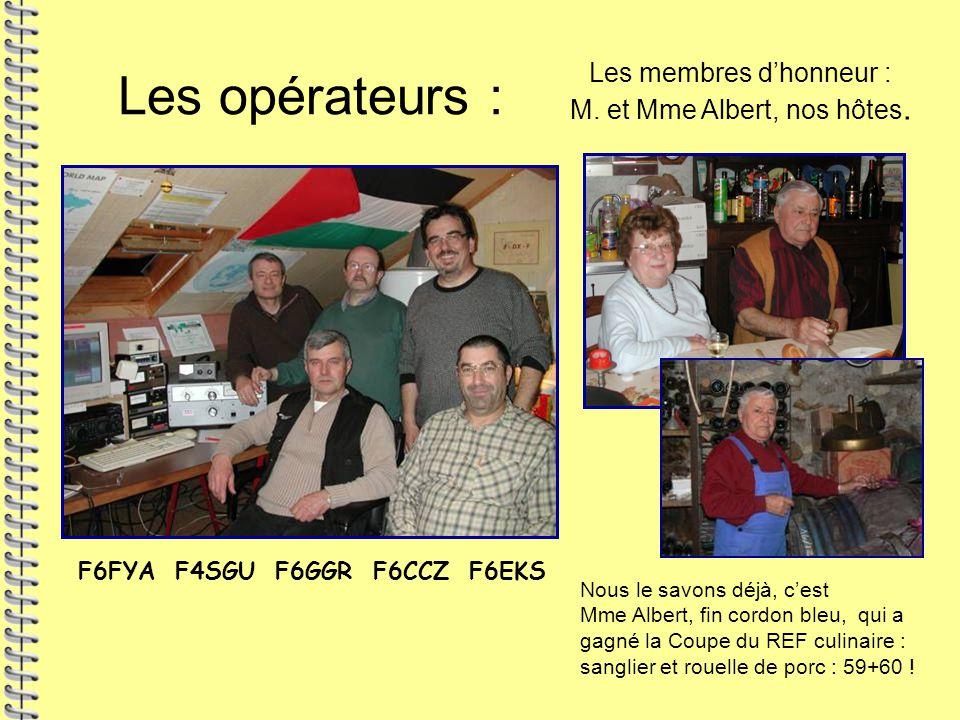 Les opérateurs : F6FYA F4SGU F6GGR F6CCZ F6EKS Les membres d'honneur : M. et Mme Albert, nos hôtes. Nous le savons déjà, c'est Mme Albert, fin cordon