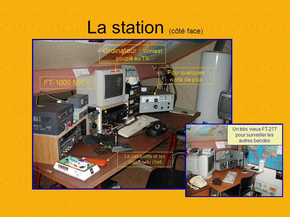 La station (côté face) FT-1000 MK V Ordinateur : Wintest couplé au TX Pour quelques watts de plus La casquette et les cigares du chef Un très vieux FT