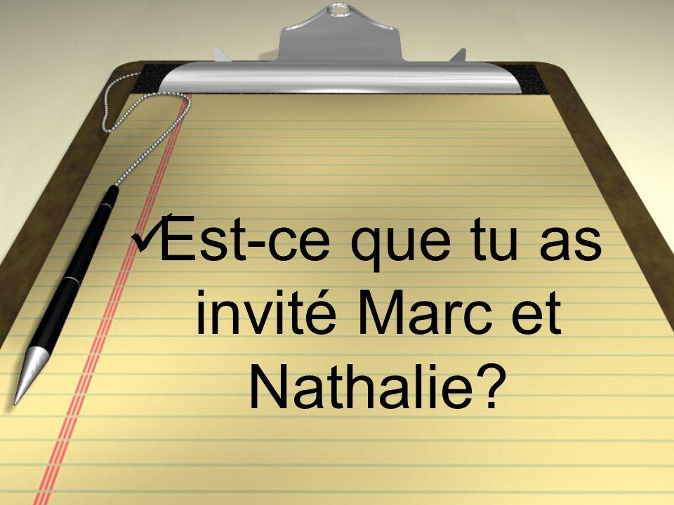 Est-ce que tu as invité Marc et Nathalie?