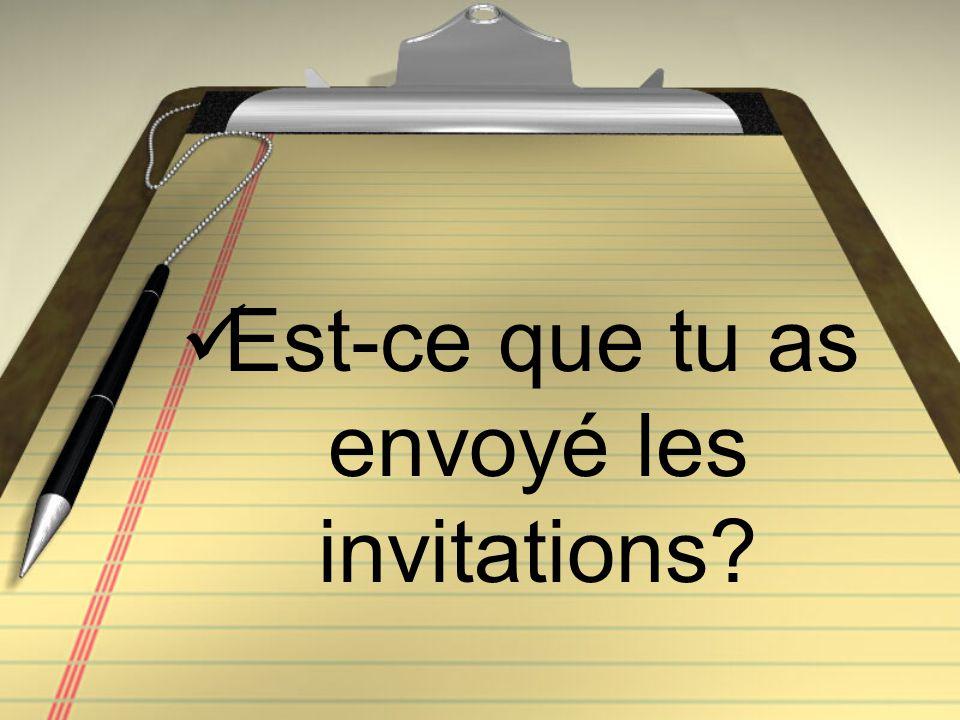 Est-ce que tu as envoyé les invitations?