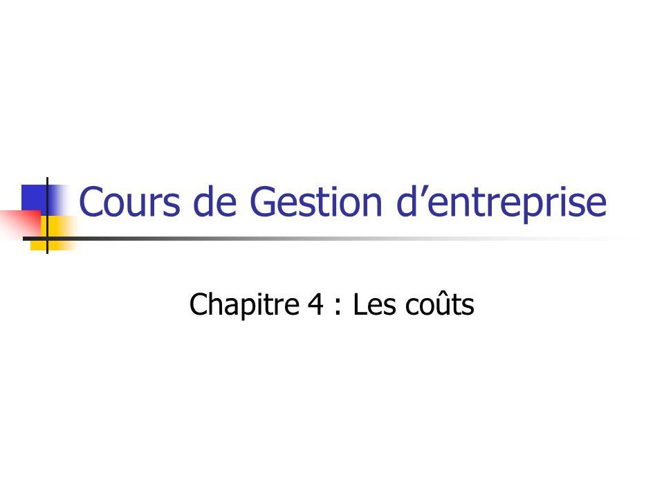 Cours de Gestion d'entreprise Chapitre 4 : Les coûts