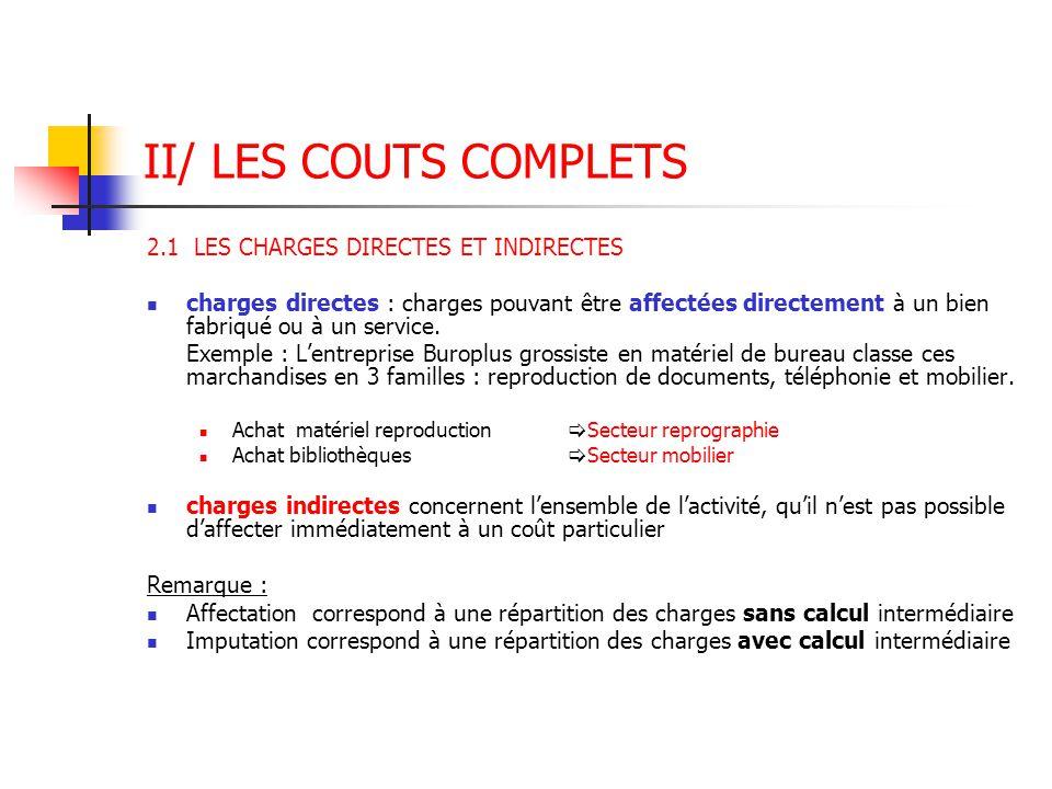 II/ LES COUTS COMPLETS 2.1 LES CHARGES DIRECTES ET INDIRECTES charges directes : charges pouvant être affectées directement à un bien fabriqué ou à un