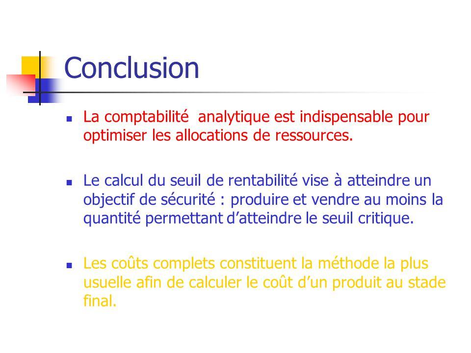 Conclusion La comptabilité analytique est indispensable pour optimiser les allocations de ressources. Le calcul du seuil de rentabilité vise à atteind