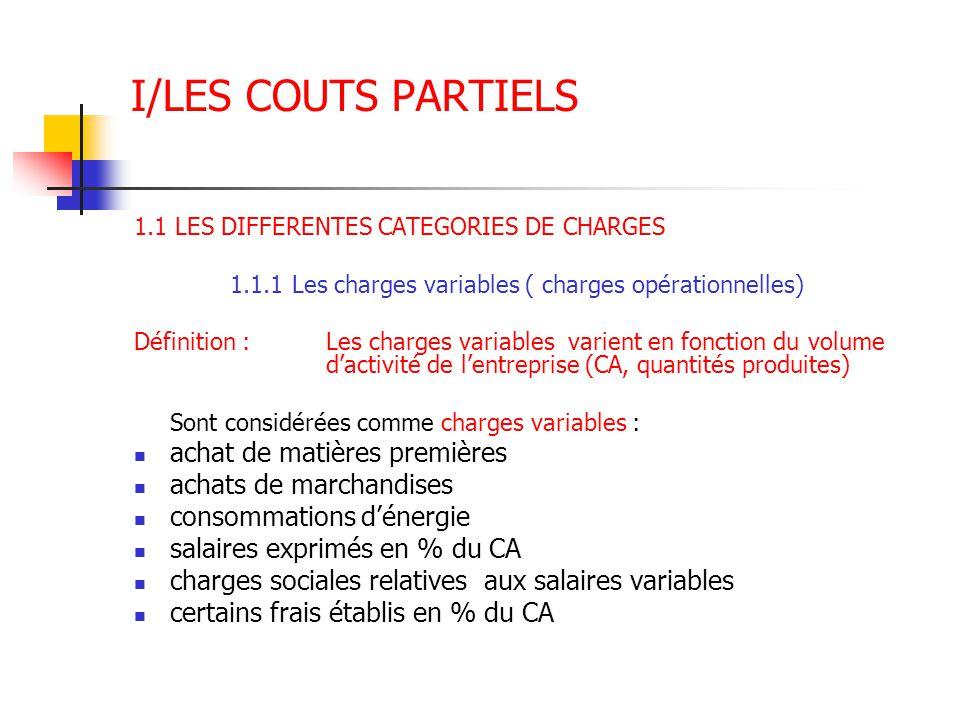 I/LES COUTS PARTIELS 1.1 LES DIFFERENTES CATEGORIES DE CHARGES 1.1.1 Les charges variables ( charges opérationnelles) Définition :Les charges variable
