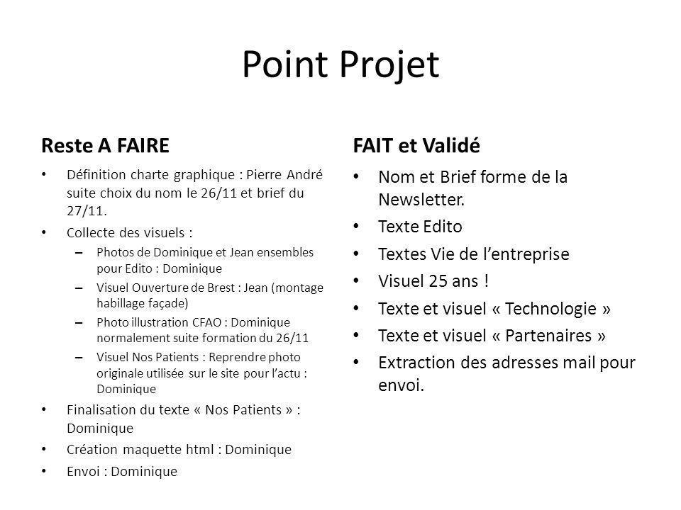 Point Projet Reste A FAIRE Définition charte graphique : Pierre André suite choix du nom le 26/11 et brief du 27/11.