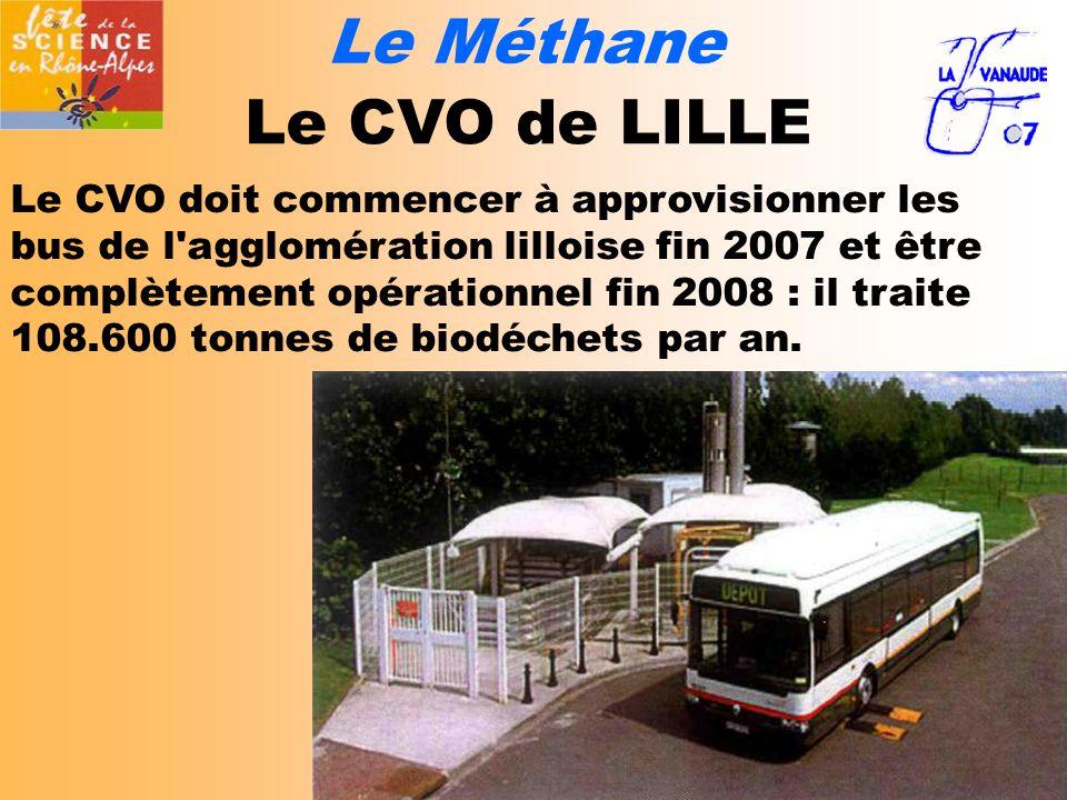 Le Méthane Le CVO de LILLE Le CVO doit commencer à approvisionner les bus de l agglomération lilloise fin 2007 et être complètement opérationnel fin 2008 : il traite 108.600 tonnes de biodéchets par an.
