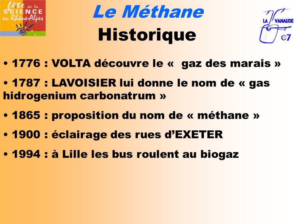 Le Méthane Historique 1776 : VOLTA découvre le « gaz des marais » 1787 : LAVOISIER lui donne le nom de « gas hidrogenium carbonatrum » 1865 : proposition du nom de « méthane » 1900 : éclairage des rues d'EXETER 1994 : à Lille les bus roulent au biogaz