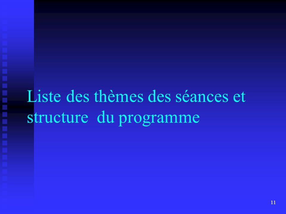 11 Liste des thèmes des séances et structure du programme