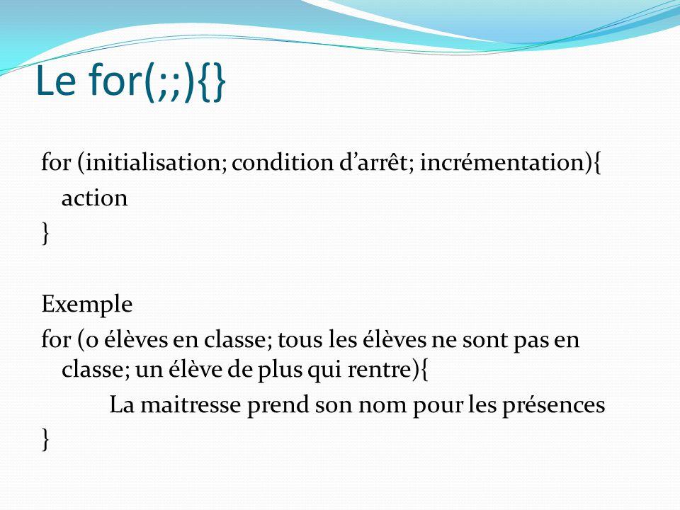 Le for(;;){} for (initialisation; condition d'arrêt; incrémentation){ action } Exemple for (0 élèves en classe; tous les élèves ne sont pas en classe;