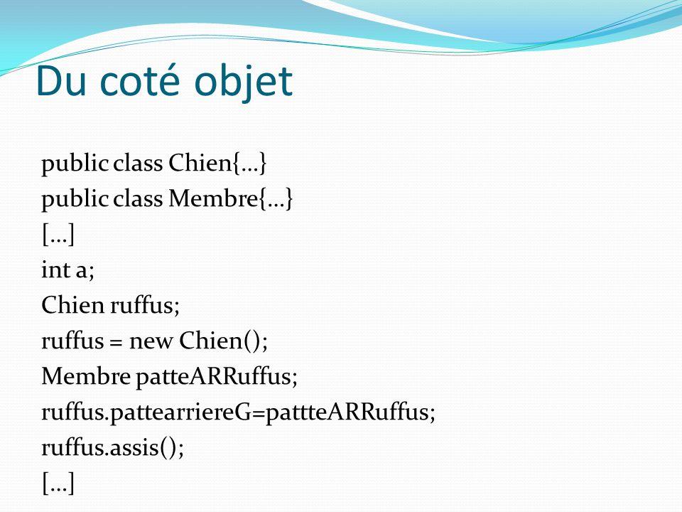 Du coté objet public class Chien{…} public class Membre{…} […] int a; Chien ruffus; ruffus = new Chien(); Membre patteARRuffus; ruffus.pattearriereG=p