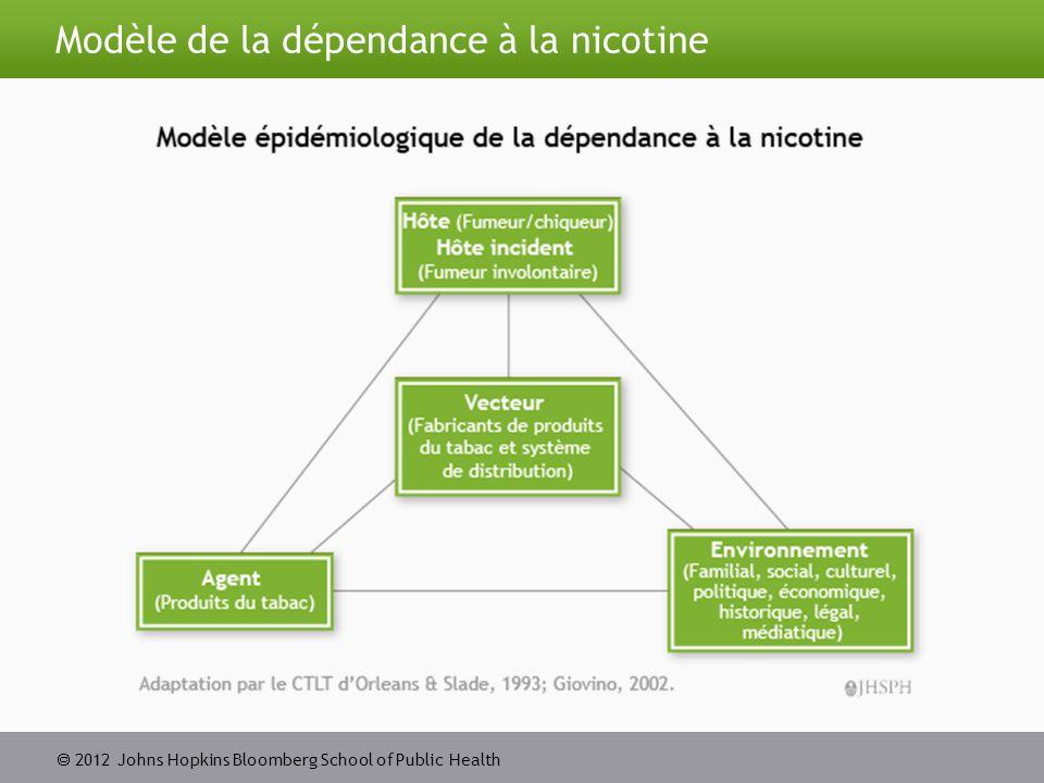  2012 Johns Hopkins Bloomberg School of Public Health Tendances des facteurs d influence chez les fumeurs adolescents Source: Institute for Social Research.