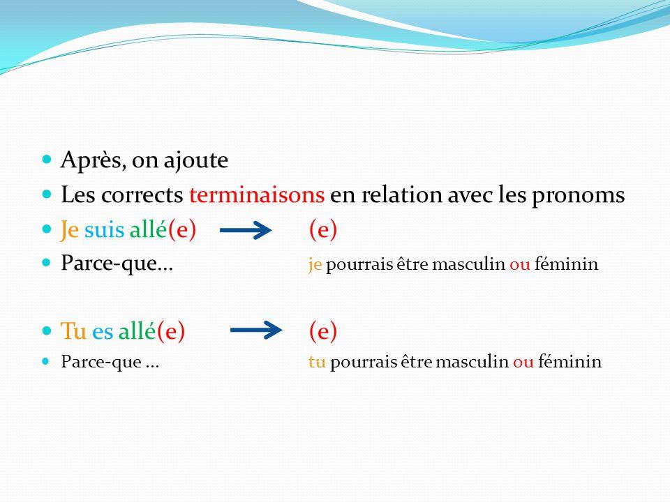 Après, on ajoute Les corrects terminaisons en relation avec les pronoms Je suis allé(e)(e) Parce-que... je pourrais être masculin ou féminin Tu es all