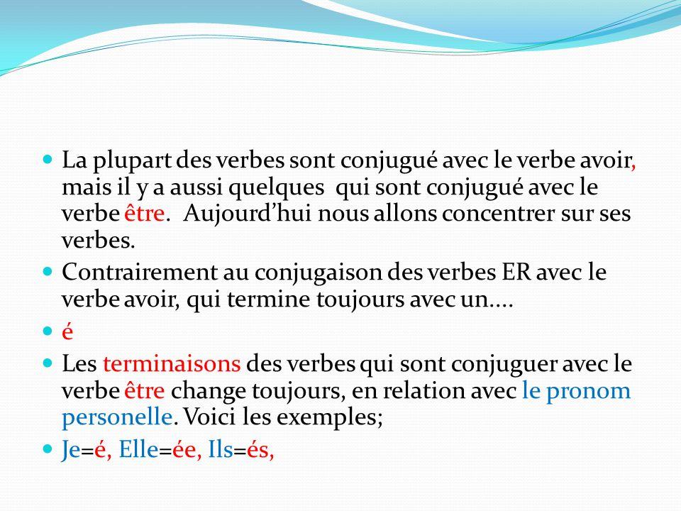 La plupart des verbes sont conjugué avec le verbe avoir, mais il y a aussi quelques qui sont conjugué avec le verbe être. Aujourd'hui nous allons conc