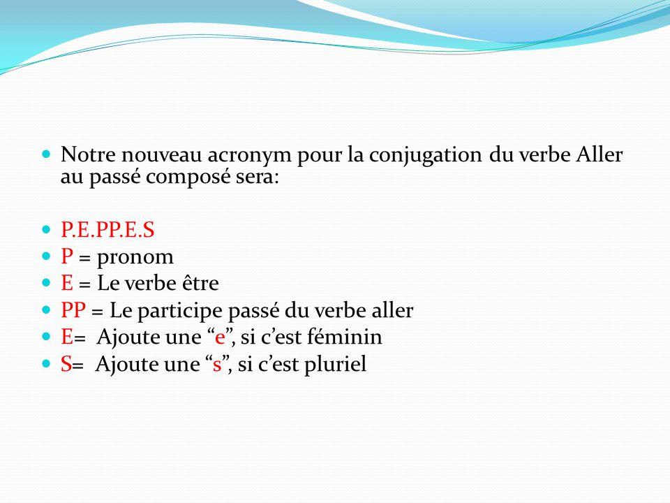 Notre nouveau acronym pour la conjugation du verbe Aller au passé composé sera: P.E.PP.E.S P = pronom E = Le verbe être PP = Le participe passé du ver