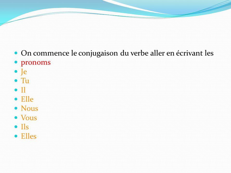 On commence le conjugaison du verbe aller en écrivant les pronoms Je Tu Il Elle Nous Vous Ils Elles