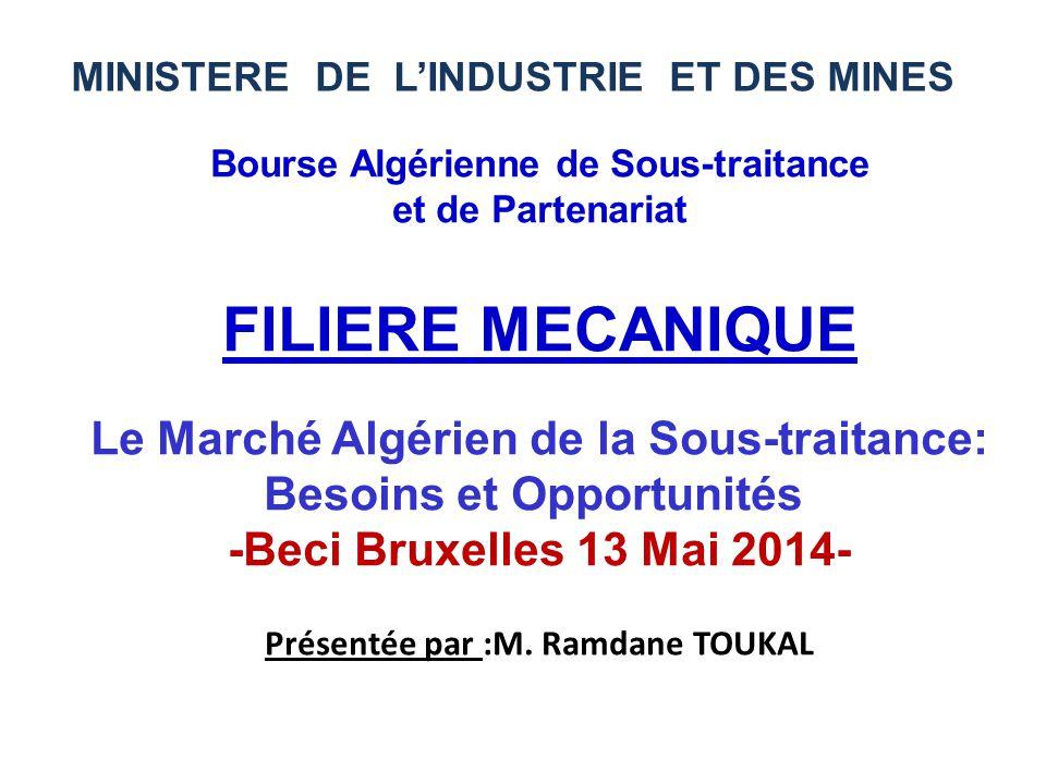 Bourse Algérienne de Sous-traitance et de Partenariat FILIERE MECANIQUE Le Marché Algérien de la Sous-traitance: Besoins et Opportunités -Beci Bruxell