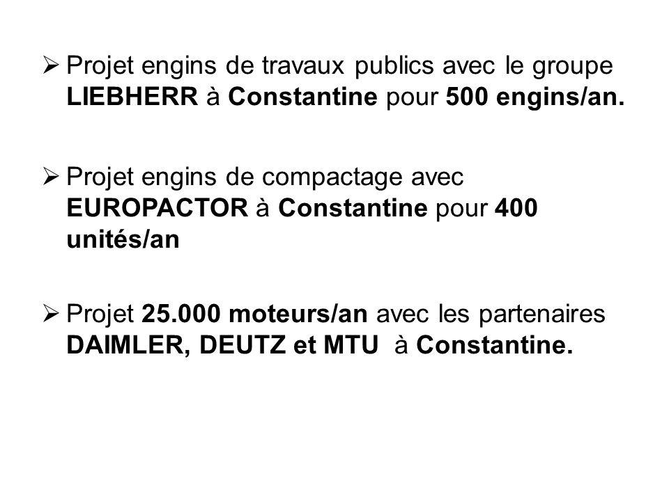  Projet engins de travaux publics avec le groupe LIEBHERR à Constantine pour 500 engins/an.  Projet engins de compactage avec EUROPACTOR à Constanti