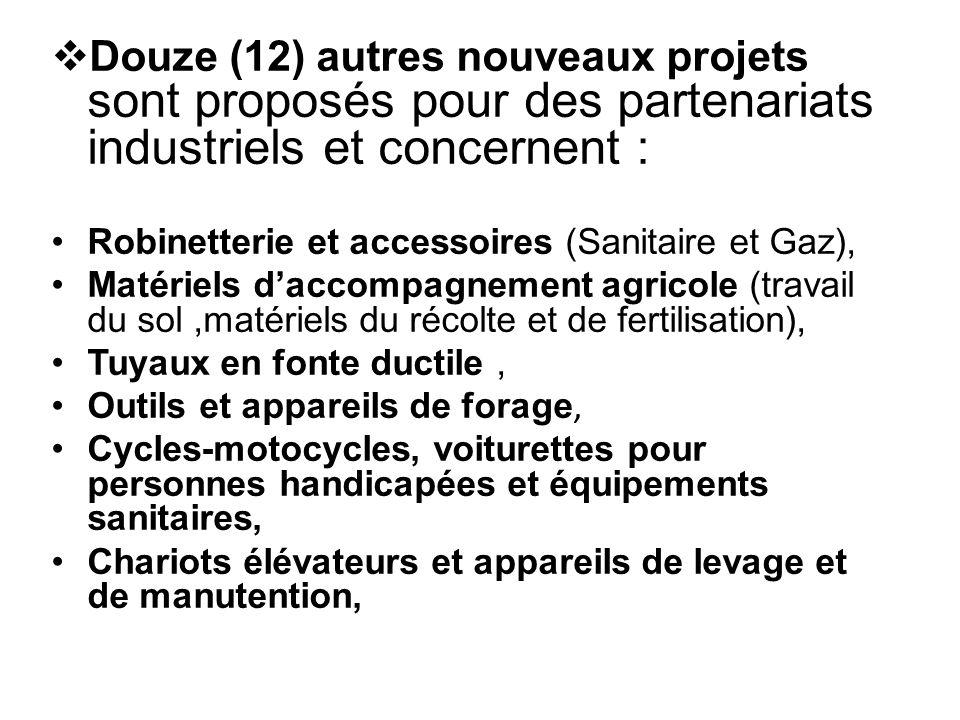 Douze (12) autres nouveaux projets sont proposés pour des partenariats industriels et concernent : Robinetterie et accessoires (Sanitaire et Gaz), M