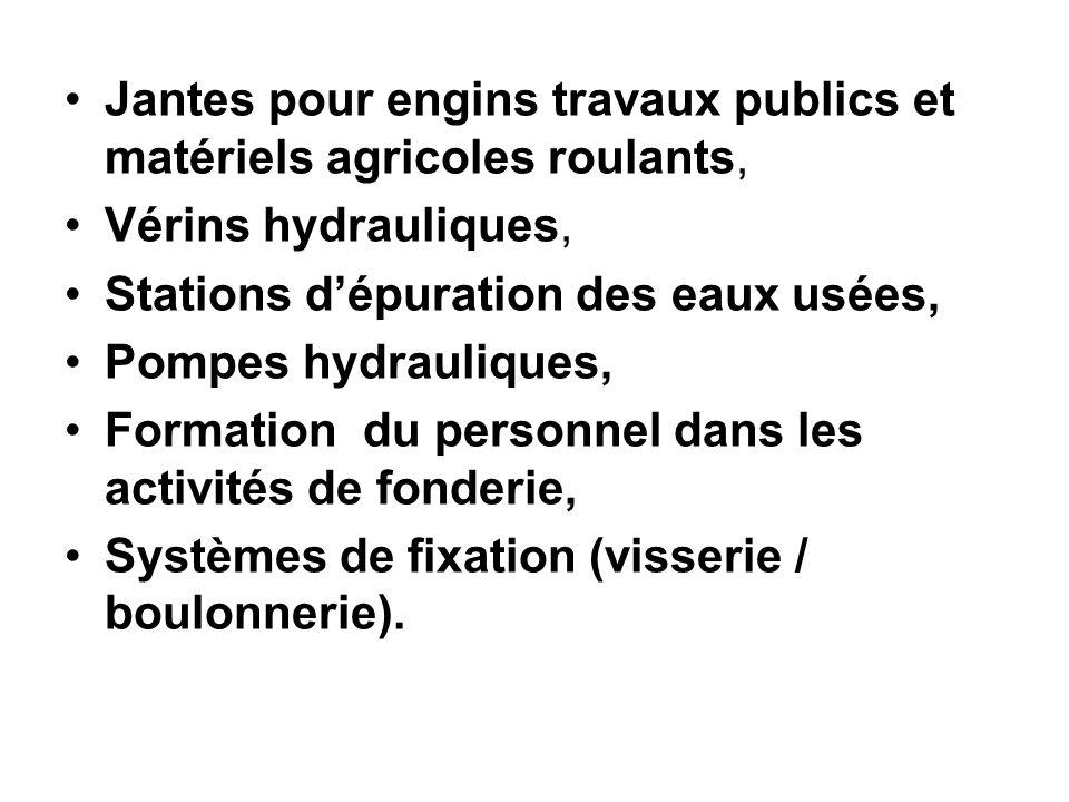 Jantes pour engins travaux publics et matériels agricoles roulants, Vérins hydrauliques, Stations d'épuration des eaux usées, Pompes hydrauliques, For