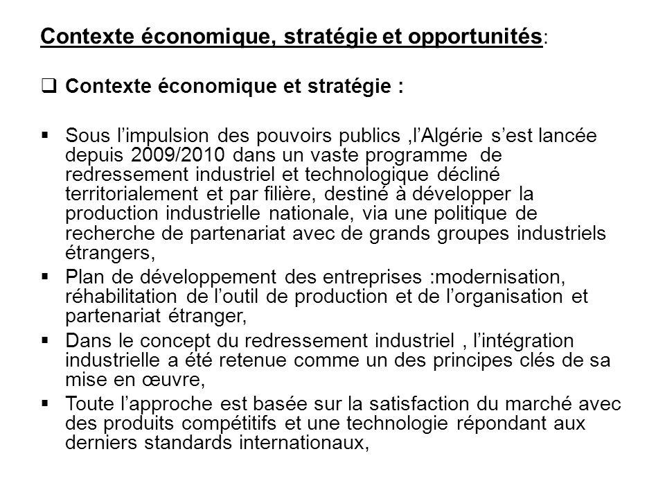Contexte économique, stratégie et opportunités :  Contexte économique et stratégie :  Sous l'impulsion des pouvoirs publics,l'Algérie s'est lancée d