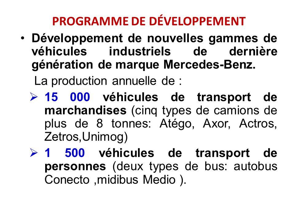 PROGRAMME DE DÉVELOPPEMENT Développement de nouvelles gammes de véhicules industriels de dernière génération de marque Mercedes-Benz. La production an