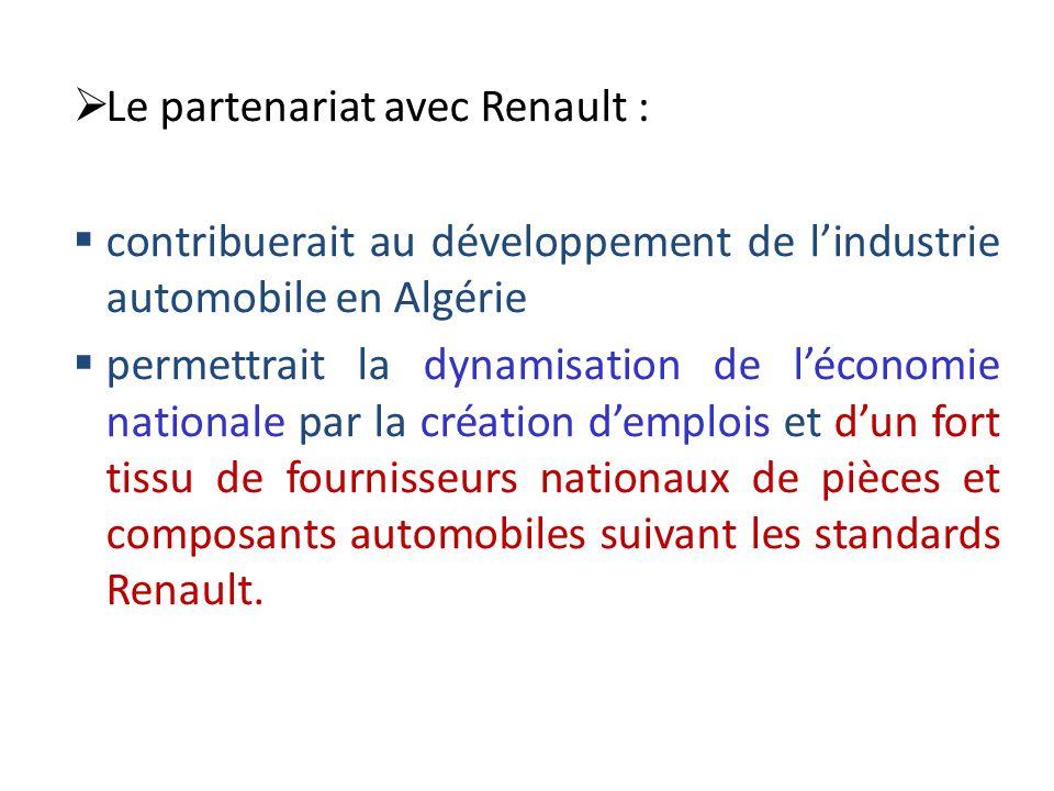  Le partenariat avec Renault :  contribuerait au développement de l'industrie automobile en Algérie  permettrait la dynamisation de l'économie nati