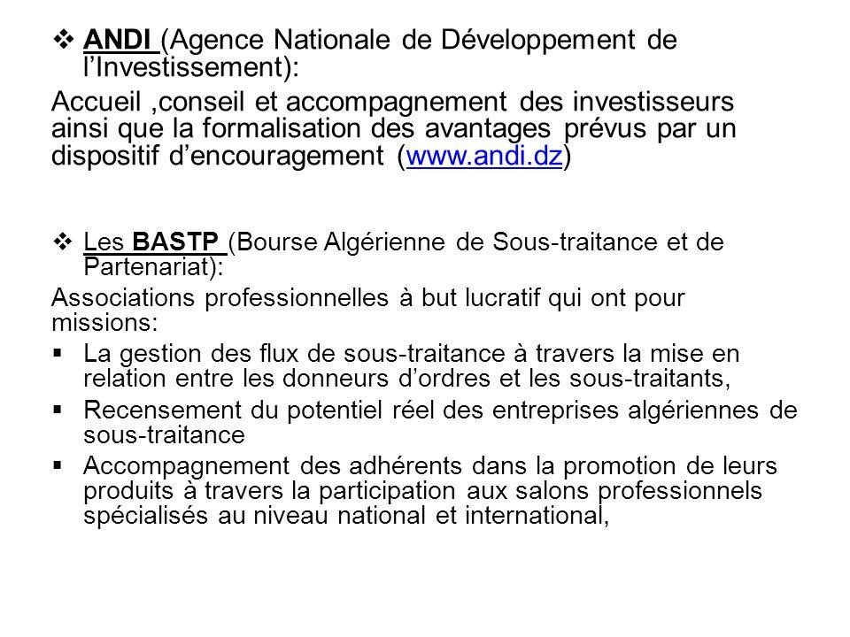  ANDI (Agence Nationale de Développement de l'Investissement): Accueil,conseil et accompagnement des investisseurs ainsi que la formalisation des ava
