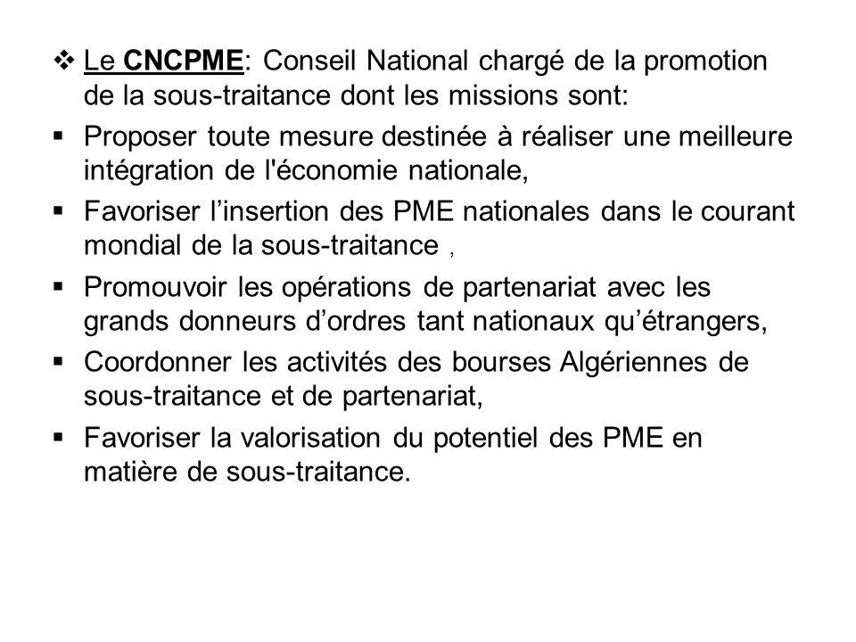  Le CNCPME: Conseil National chargé de la promotion de la sous-traitance dont les missions sont:  Proposer toute mesure destinée à réaliser une meil