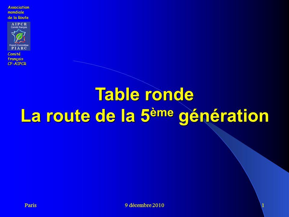 Paris9 décembre 20101 Table ronde La route de la 5 ème génération Association mondiale de la Route Comité français CF-AIPCR