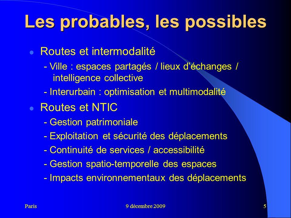 Paris9 décembre 20095 Les probables, les possibles Routes et intermodalité - Ville : espaces partagés / lieux d'échanges / intelligence collective - I