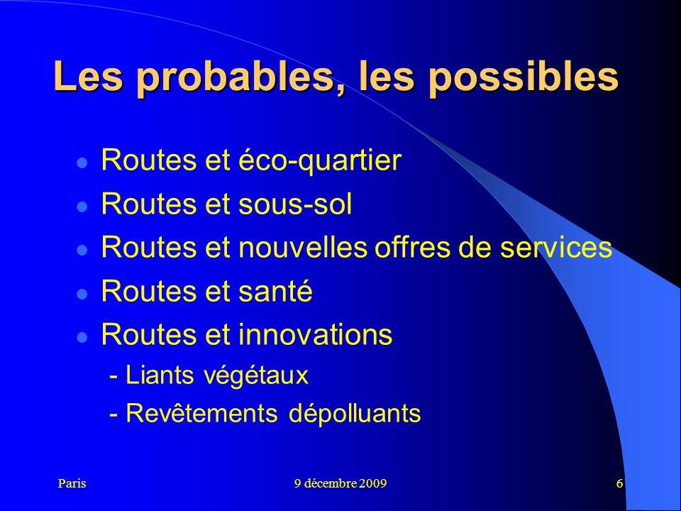 Paris9 décembre 20096 Les probables, les possibles Routes et éco-quartier Routes et sous-sol Routes et nouvelles offres de services Routes et santé Ro