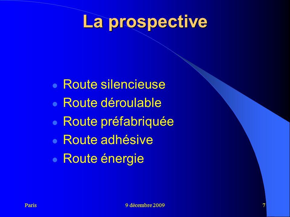 Paris9 décembre 20097 La prospective Route silencieuse Route déroulable Route préfabriquée Route adhésive Route énergie