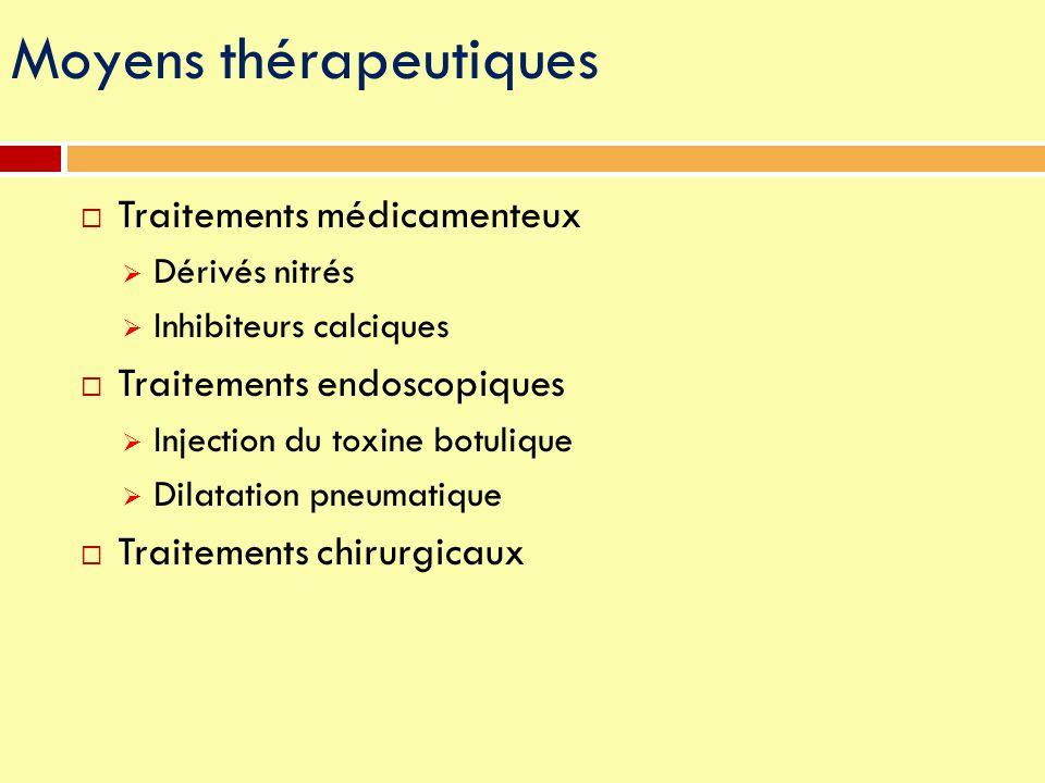 Moyens thérapeutiques  Traitements médicamenteux  Dérivés nitrés  Inhibiteurs calciques  Traitements endoscopiques  Injection du toxine botulique
