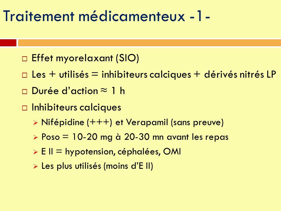  Effet myorelaxant (SIO)  Les + utilisés = inhibiteurs calciques + dérivés nitrés LP  Durée d'action ≈ 1 h  Inhibiteurs calciques  Nifépidine (++