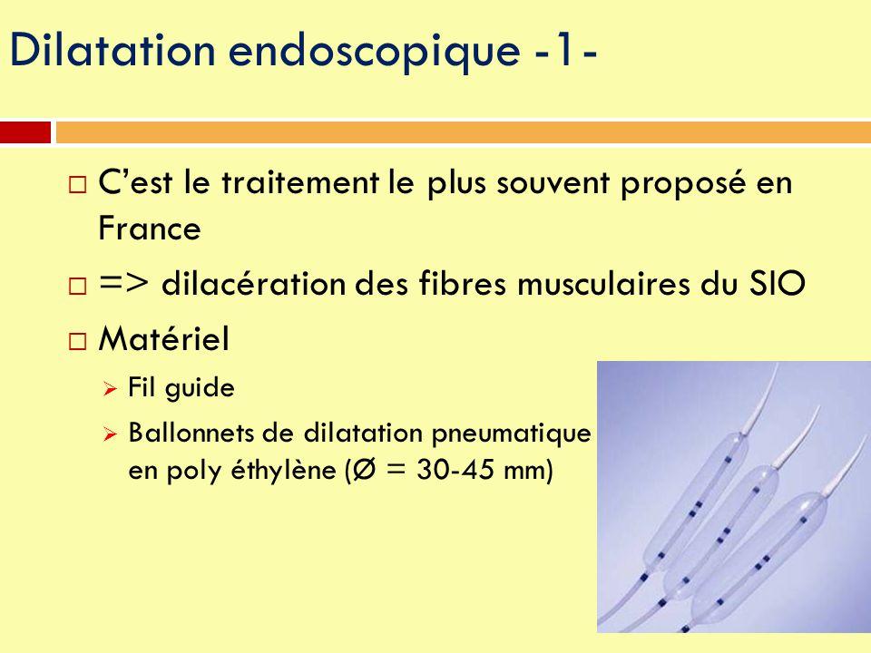 Dilatation endoscopique -1-  C'est le traitement le plus souvent proposé en France  => dilacération des fibres musculaires du SIO  Matériel  Fil g