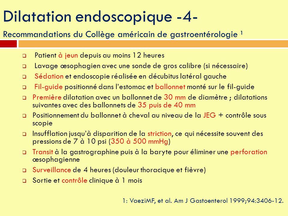 Dilatation endoscopique -4- Recommandations du Collège américain de gastroentérologie ¹ 1: VaeziMF, et al. Am J Gastoenterol 1999;94:3406-12.  Patien