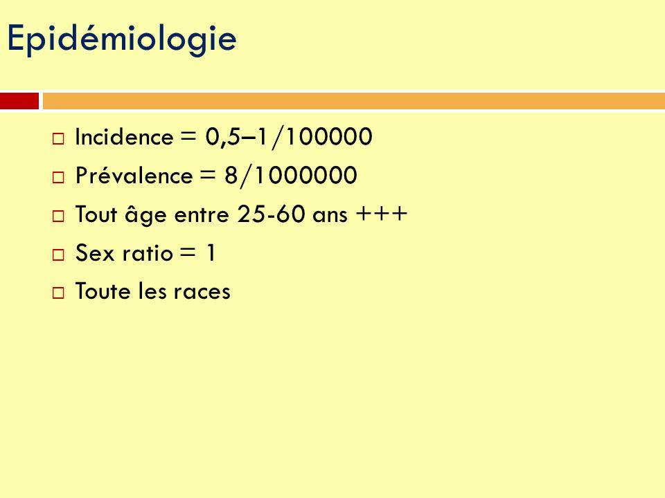  Incidence = 0,5–1/100000  Prévalence = 8/1000000  Tout âge entre 25-60 ans +++  Sex ratio = 1  Toute les races Epidémiologie