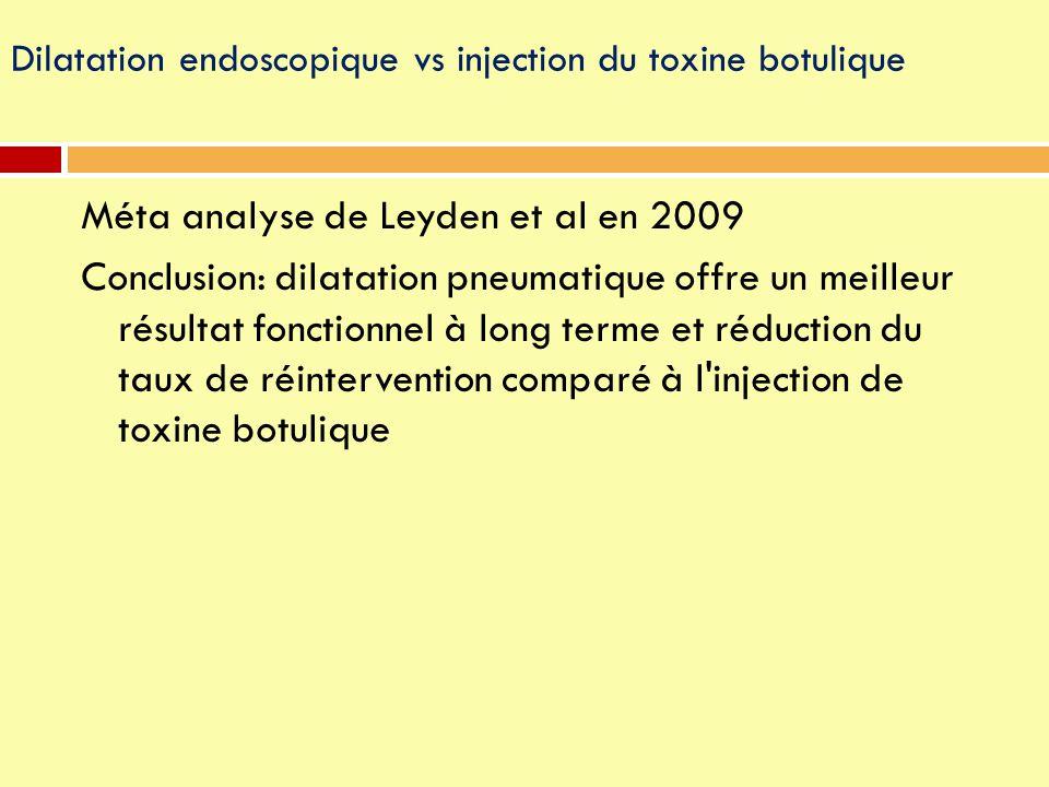 Méta analyse de Leyden et al en 2009 Conclusion: dilatation pneumatique offre un meilleur résultat fonctionnel à long terme et réduction du taux de ré
