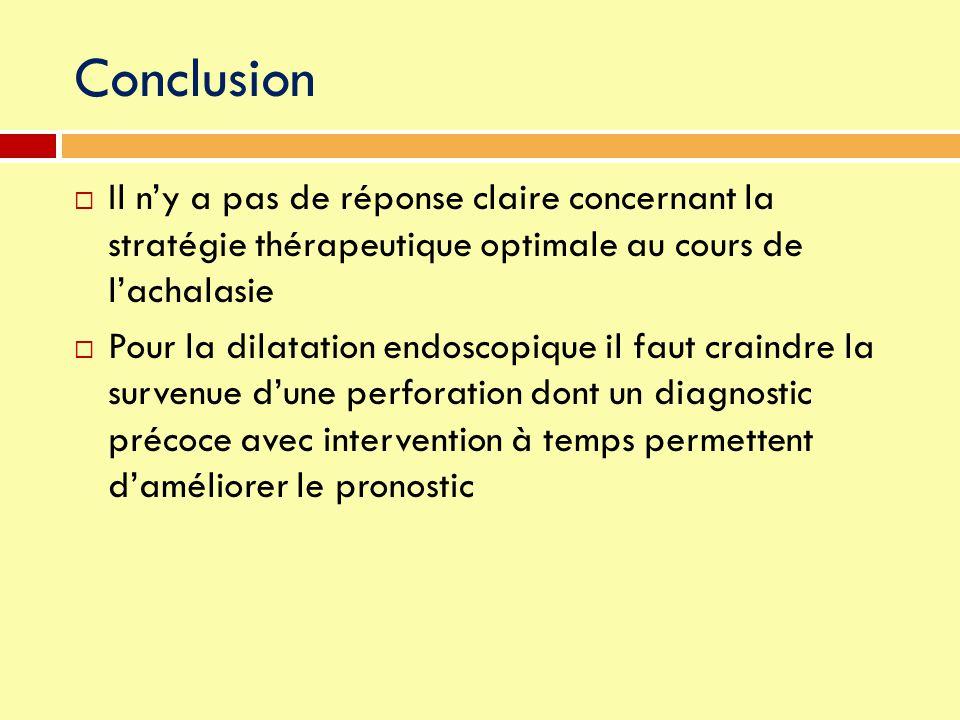 Conclusion  Il n'y a pas de réponse claire concernant la stratégie thérapeutique optimale au cours de l'achalasie  Pour la dilatation endoscopique i