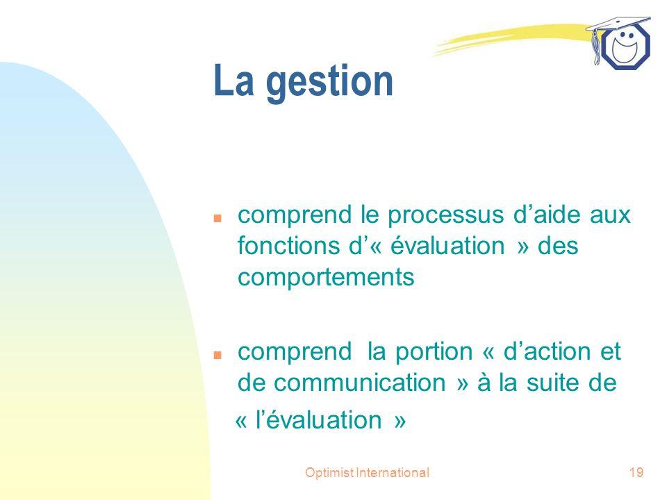 Optimist International19 La gestion n comprend le processus d'aide aux fonctions d'« évaluation » des comportements n comprend la portion « d'action et de communication » à la suite de « l'évaluation »