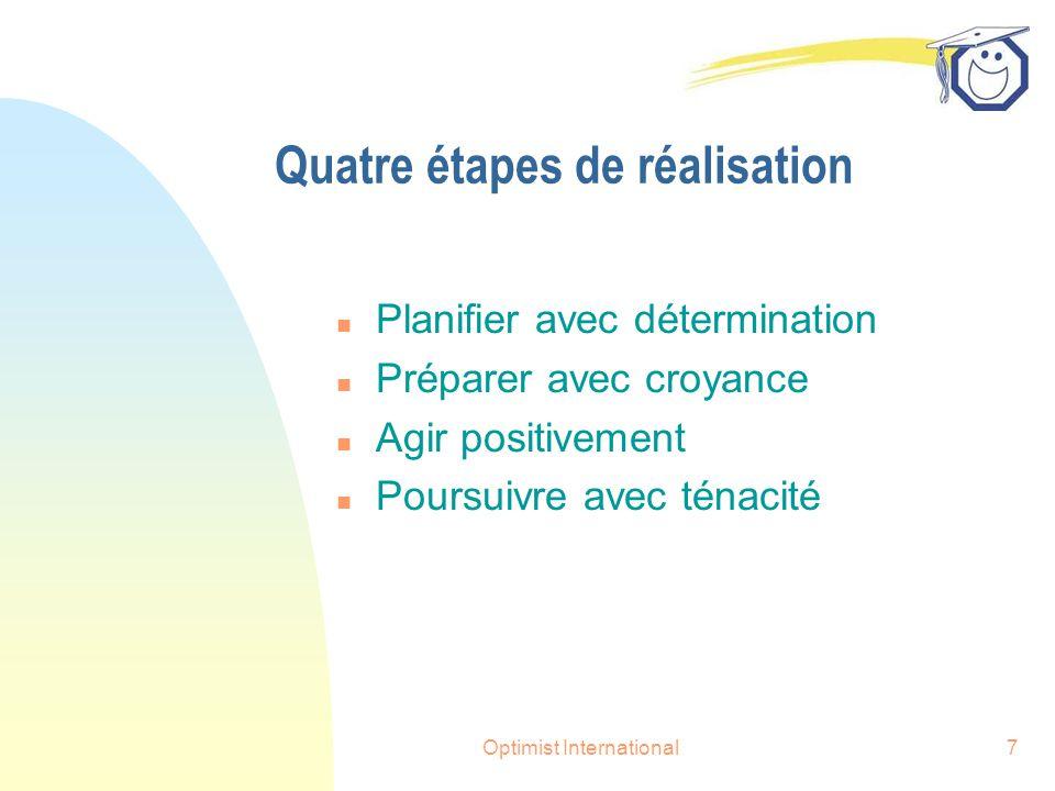 Optimist International7 Quatre étapes de réalisation n Planifier avec détermination n Préparer avec croyance n Agir positivement n Poursuivre avec ténacité