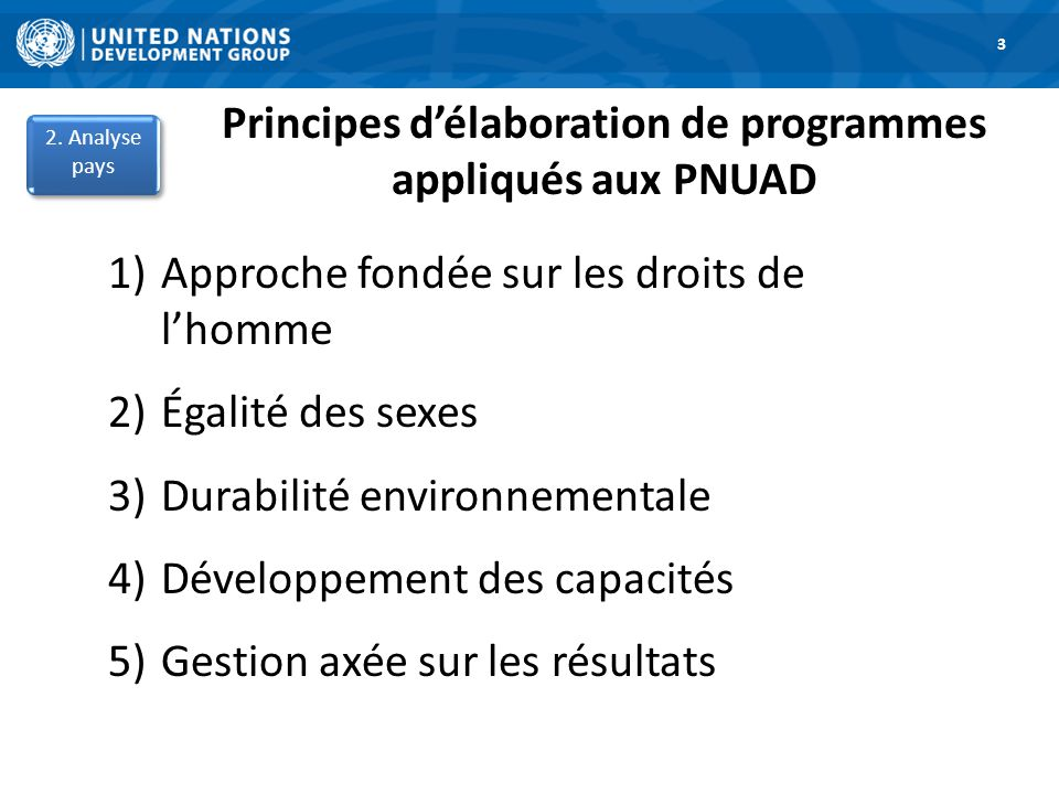 Principes d'élaboration de programmes appliqués aux PNUAD 1)Approche fondée sur les droits de l'homme 2)Égalité des sexes 3)Durabilité environnementale 4)Développement des capacités 5)Gestion axée sur les résultats 1.