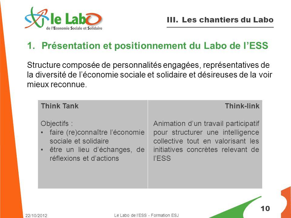 1.Présentation et positionnement du Labo de l'ESS Structure composée de personnalités engagées, représentatives de la diversité de l'économie sociale et solidaire et désireuses de la voir mieux reconnue.