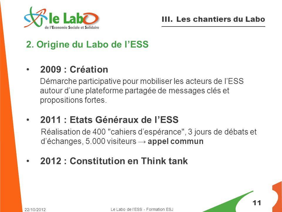 2. Origine du Labo de l'ESS 2009 : Création Démarche participative pour mobiliser les acteurs de l'ESS autour d'une plateforme partagée de messages cl