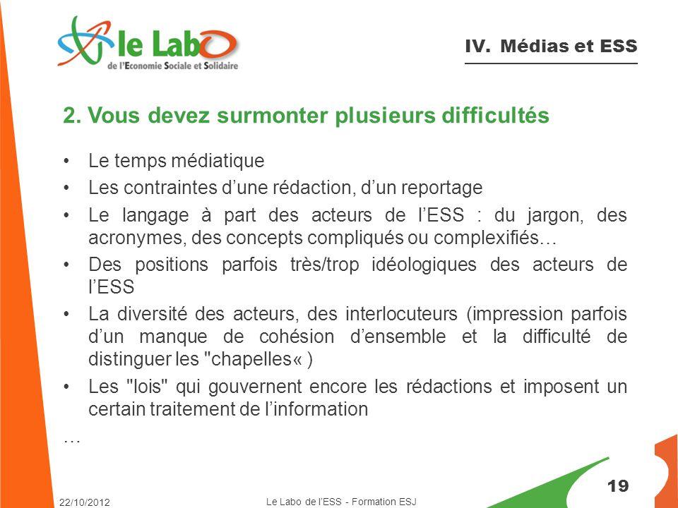 19 IV. Médias et ESS 2.