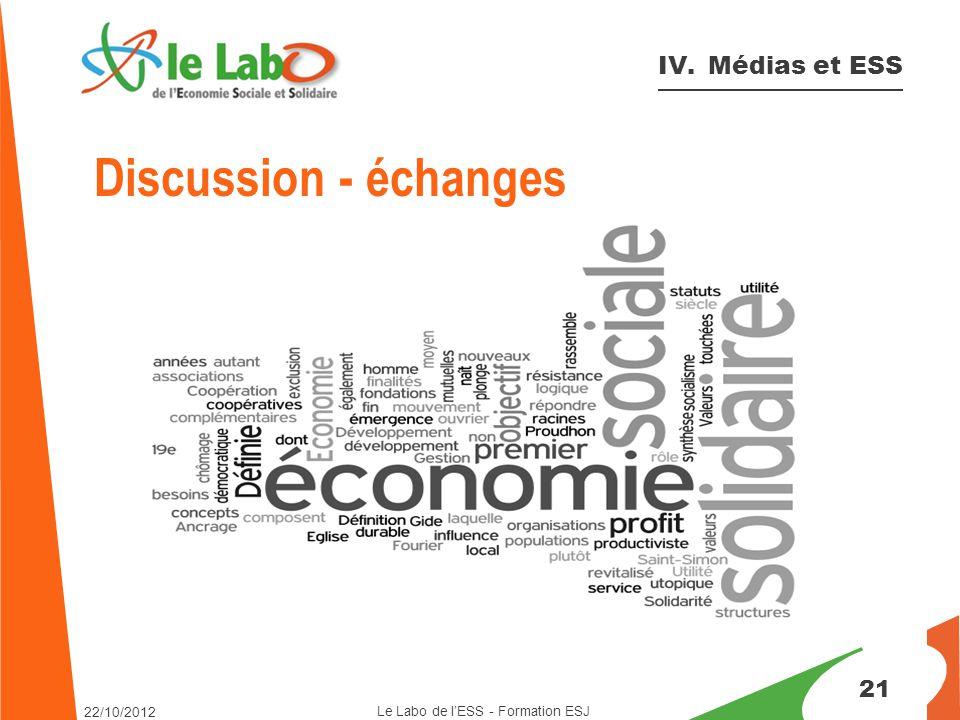 21 IV. Médias et ESS Le Labo de l'ESS - Formation ESJ 22/10/2012 Discussion - échanges