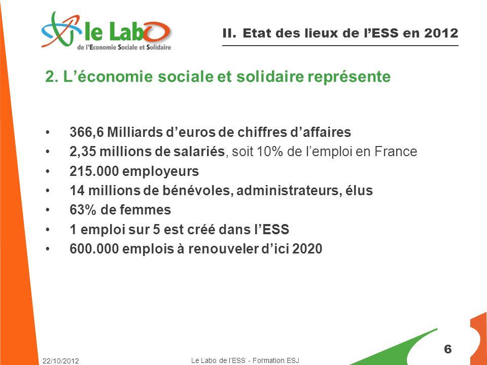 2. L'économie sociale et solidaire représente 366,6 Milliards d'euros de chiffres d'affaires 2,35 millions de salariés, soit 10% de l'emploi en France
