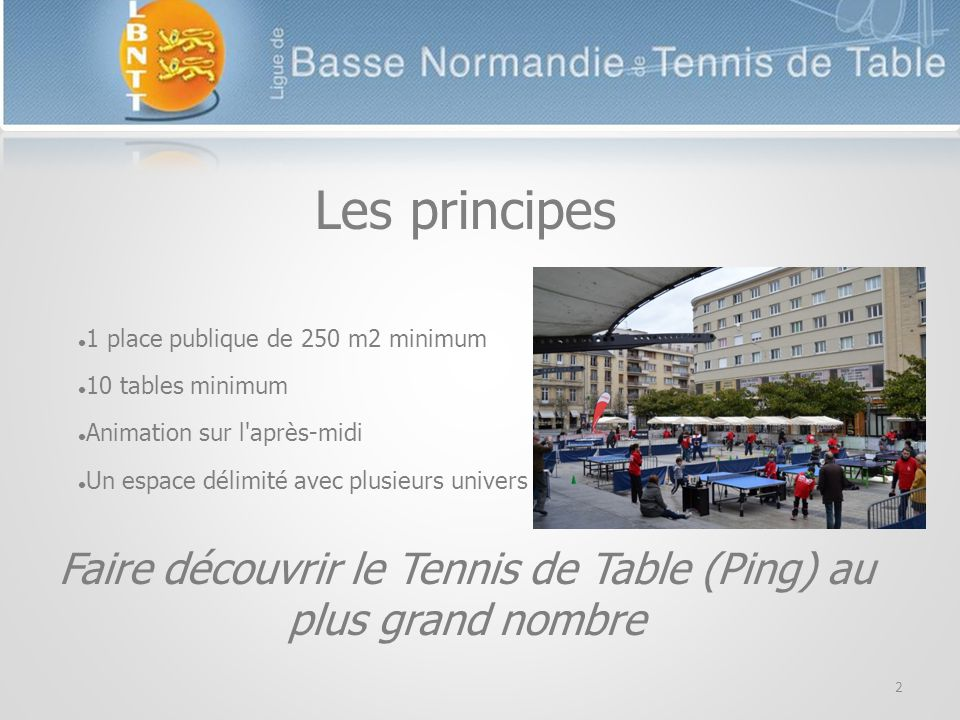 Les principes 1 place publique de 250 m2 minimum 10 tables minimum Animation sur l après-midi Un espace délimité avec plusieurs univers Faire découvrir le Tennis de Table (Ping) au plus grand nombre 2