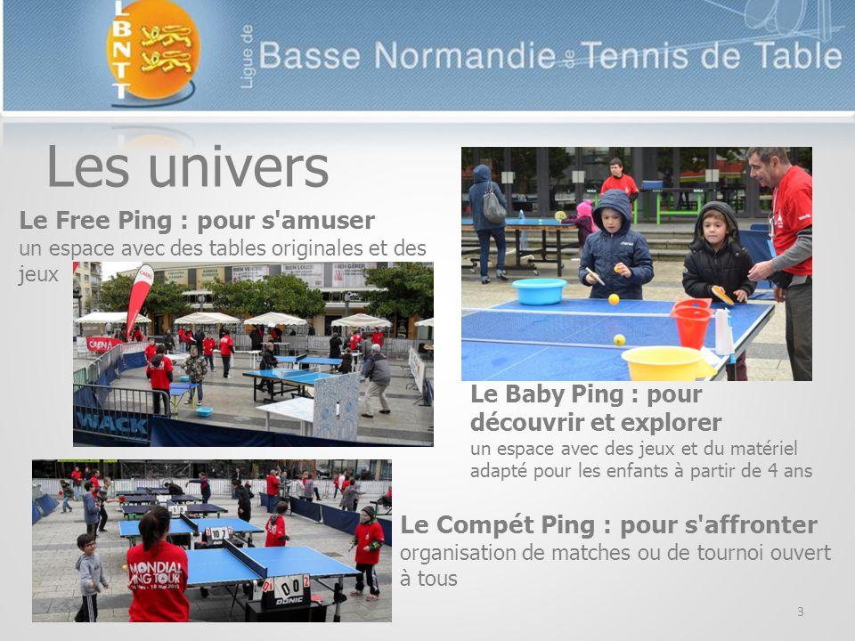 3 Les univers Le Free Ping : pour s amuser un espace avec des tables originales et des jeux Le Baby Ping : pour découvrir et explorer un espace avec des jeux et du matériel adapté pour les enfants à partir de 4 ans Le Compét Ping : pour s affronter organisation de matches ou de tournoi ouvert à tous
