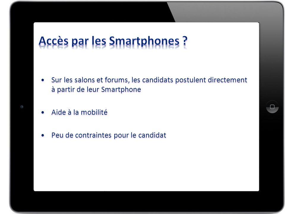Sur les salons et forums, les candidats postulent directement à partir de leur SmartphoneSur les salons et forums, les candidats postulent directement à partir de leur Smartphone Aide à la mobilitéAide à la mobilité Peu de contraintes pour le candidatPeu de contraintes pour le candidat